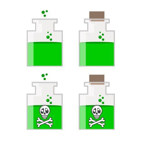 poison bottle: Botella del veneno con el cr�neo de dibujos animados ilustraci�n vectorial