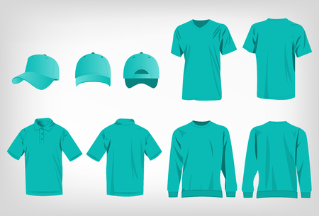 Sport turquoise t-shirt, sweater, polo shirt and baseball cap isolated set vector