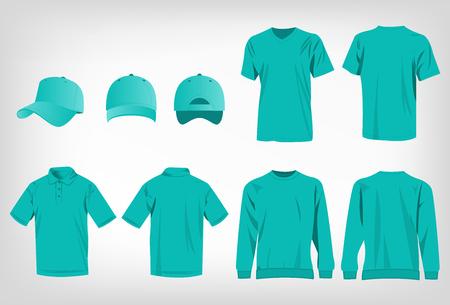 turquesa camiseta deportiva, suéter, camisa de polo y gorra de béisbol aislados conjunto de vectores