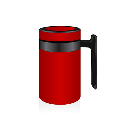 thermo: Vector red thermo mug, travel mug