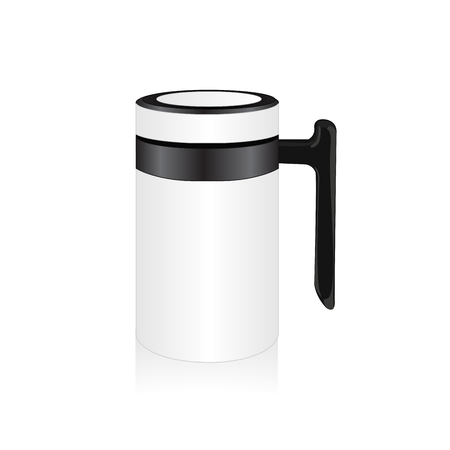insulated drink container: Vector white thermo mug, travel mug