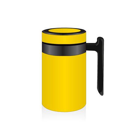 thermo: Vector yellow thermo mug, travel mug Illustration