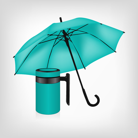 travel mug: Turquoise umbrella and vacuum insulated stainless steel mug vector set