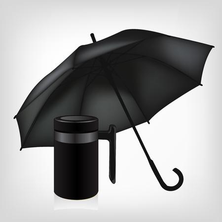 insulated: black umbrella and vacuum insulated stainless steel mug set Illustration