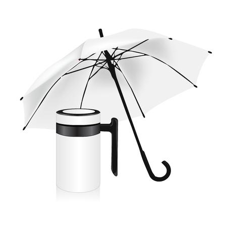 insulated: white umbrella and vacuum insulated stainless steel mug set