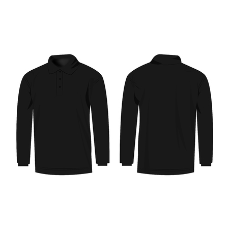 sleeve: black polo with long sleeve isolated