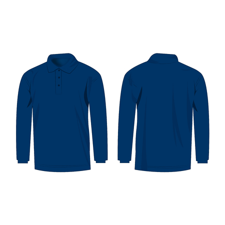 sleeve: blue polo with long sleeve isolated Illustration