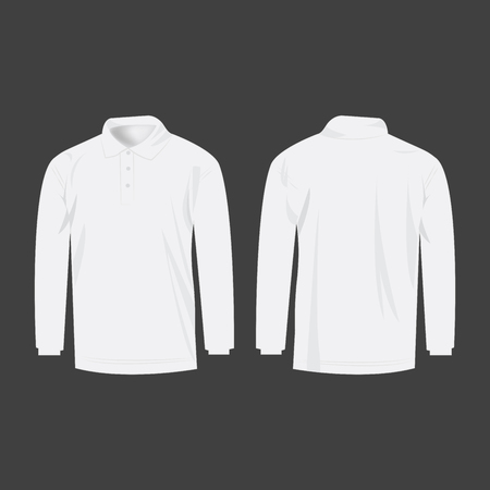 sleeve: White polo with long sleeve isolated