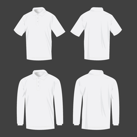 long sleeve: White polo shirt and polo with long sleeve isolated set