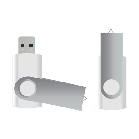 usb flash: USB Flash Drive isolated on white background Illustration
