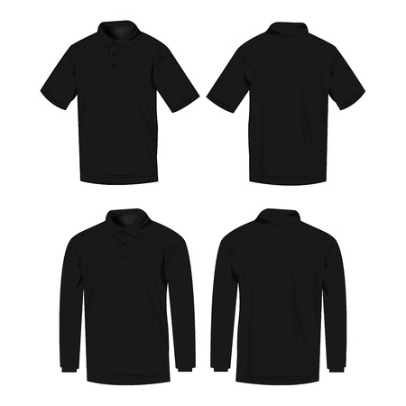 sleeve: Black polo shirt and polo with long sleeve isolated set Illustration