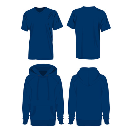 hoody: Blue hoodie and t-shirt isolated set