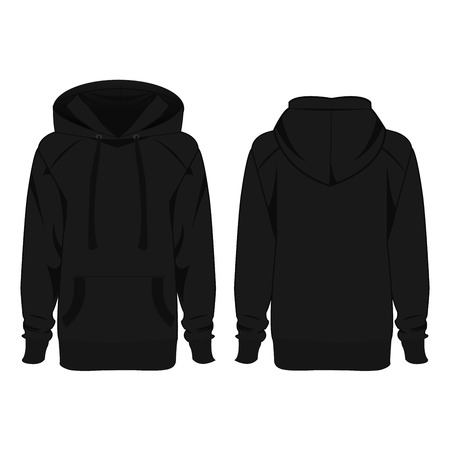 hoody: Black hoodie isolated vector