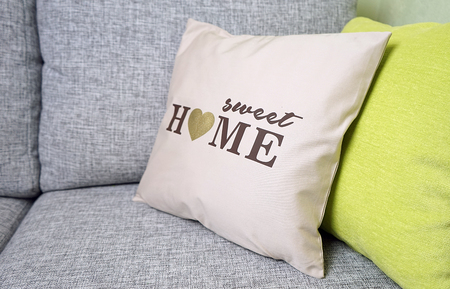adorable home: Sweet Home Pillow - home decor Stock Photo