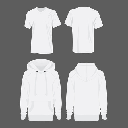 hooded sweatshirt: White hoodie and t-shirt isolated vector set