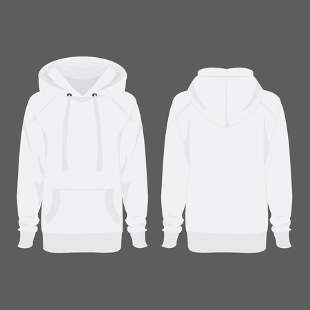 casual hooded top: White hoodie isolated vector