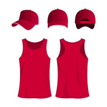 Hot pink sport top and cap vector set