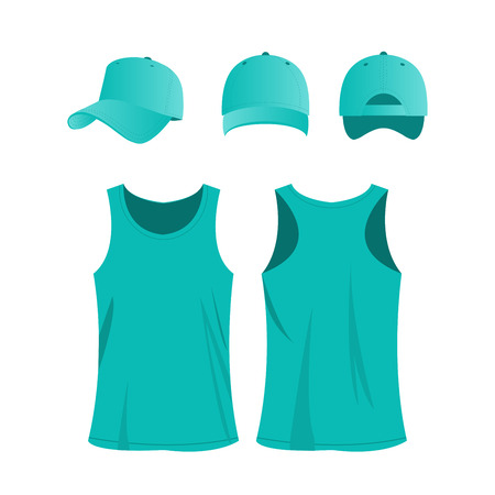 Turquoise sport top and cap vector set