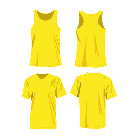 Yellow sport top and t-shirt isolated vector set