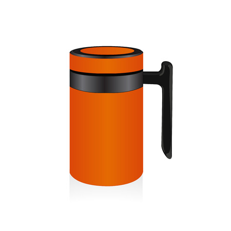 thermo: Vector orange thermo mug, travel mug,  isolated on white background Illustration