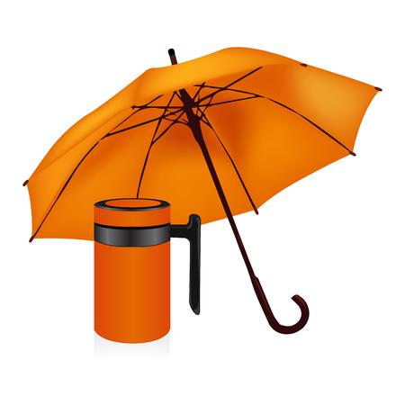 Autumn set orange umbrella and vacuum insulated stainless steel mug vector Illustration