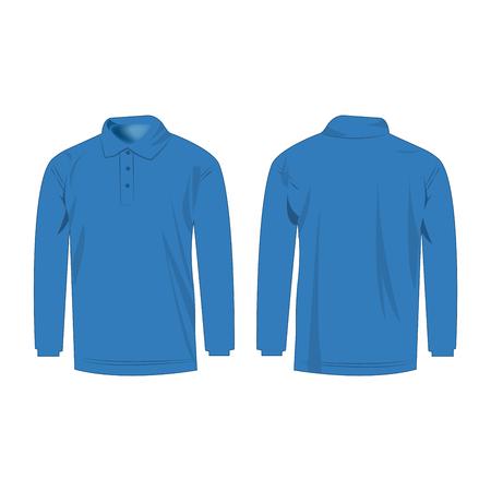 sleeve: Light blue polo with long sleeve isolated vector