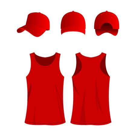 Red sport top and cap isolated vector set