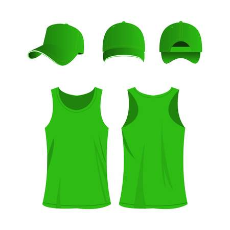 Light green sport top and cap isolated vector set Illustration