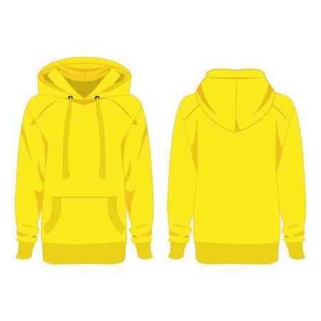 hooded sweatshirt: Yellow hoodie isolated vector Illustration