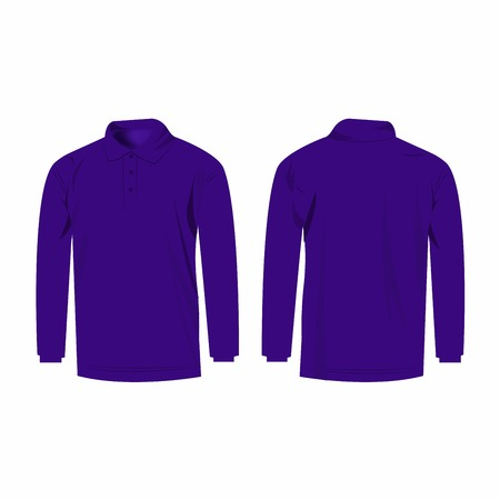 sleeve: Violet long sleeve polo isolated vector