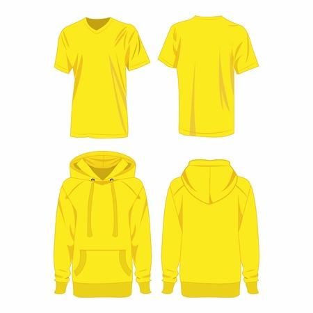 hooded sweatshirt: yellow hoodie and t-shirt isolated vector set