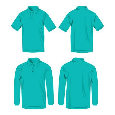 long sleeve shirt: Turquoise polo shirt and polo with long sleeve isolated vector set