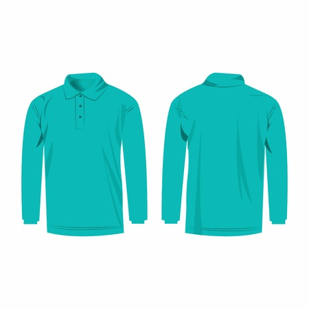 sleeve: Turquoise polo with long sleeve isolated vector