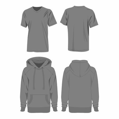 hooded sweatshirt: Grey hoodie and t-shirt isolated vector set