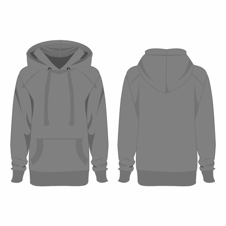 casual hooded top: Grey hoodie isolated vector Illustration