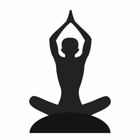 mind body soul: Silhouette of the meditate yoga person