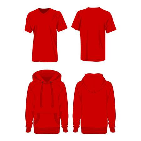 hoodie: Red hoodie and t-shirt isolated vector set