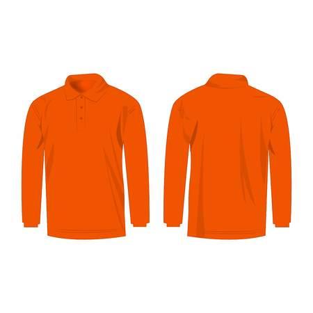 Orange long sleeve polo isolated vector Illustration