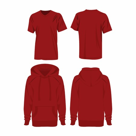 dark red: Dark red hoodie and t-shirt isolated vector set Illustration