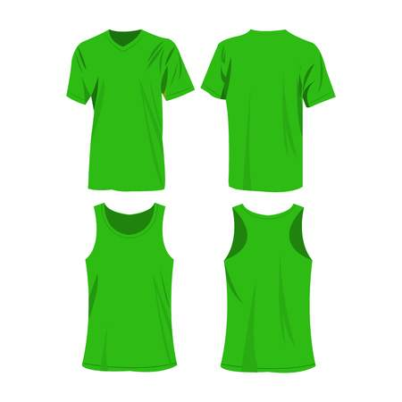 raglan: Light green sport top and t-shirt isolated vector set Illustration