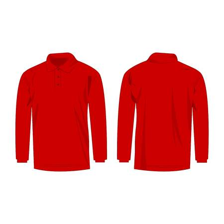 sleeve: red long sleeve polo isolated vector front and back