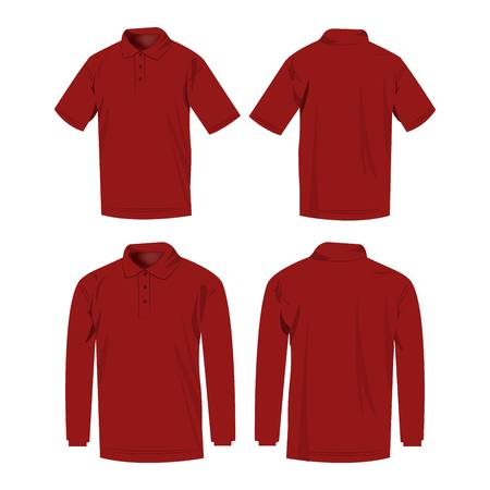 dark red: Dark red polo shirt and polo with long sleeve isolated vector set Illustration