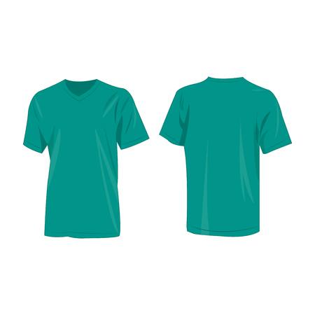 Teal or blue-green t-shirt vector set