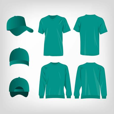 Sport teal t-shirt, sweater and baseball cap isolated set vector Illustration