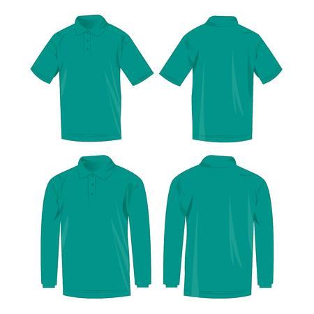 long sleeve shirt: Teal polo shirt and polo with long sleeve isolated vector set