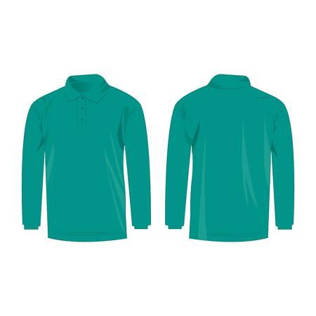 sleeve: Teal long sleeve polo isolated vector