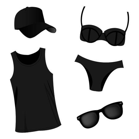 beach side: Summer beach black vector set cap, top, swimsuit and sunglasses