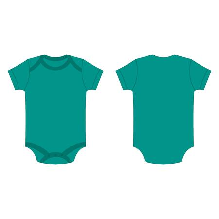 romper: teal baby bodysuit vector isolated