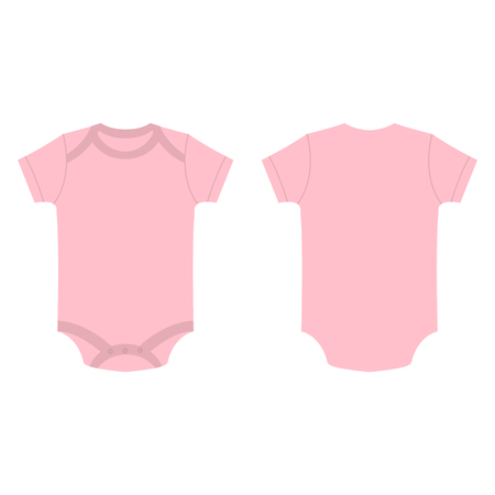 romper: baby pink baby girl bodysuit vector isolated on the white background
