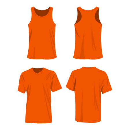 orange sport top and t-shirt isolated vector set